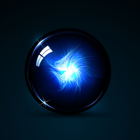 crystal background: illustration magic ball with neon lines inside on a dark background