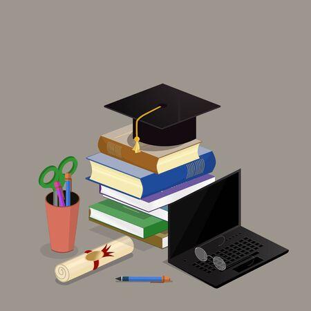 Concepto Colegio universitaria graduación plana 3d web isométrica libro infografía.