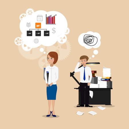 女性実業家: オフィスでのビジネス女性成功したマルチタスク。