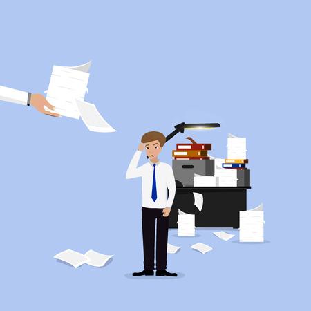 under pressure: Businessman lot of work, a lot of paperwork.
