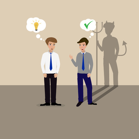 betrayal: Two businessmen talking, one lying devil shadow Illustration