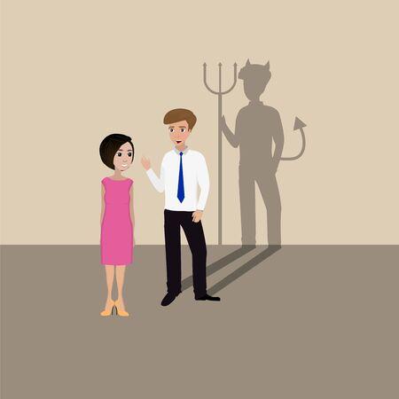 betrayal: Two businessmen talking, one lying devil shadow Stock Photo