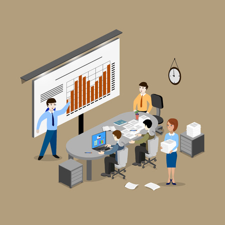 feasibility: The concept of office work, teamwork, brainstorming, meeting, exchange of ideas, problem-solving. Isometric view from the top