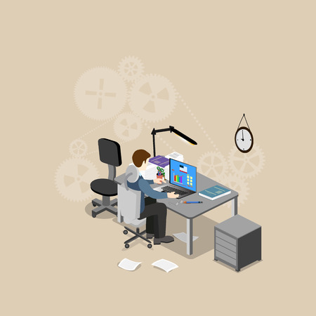 problemsolving: The concept of office work, problem-solving. Isometric view from the top