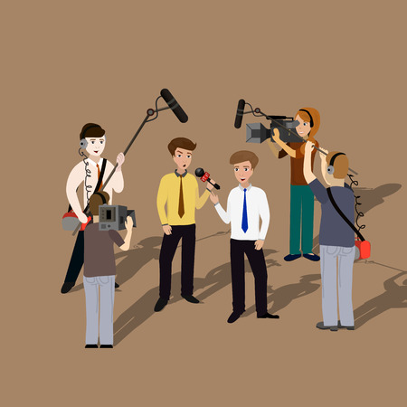 informe: Informes concepto vivo, sus entrevistas, micrófonos en las manos de los periodistas. Plantilla de noticias en vivo. Vectores