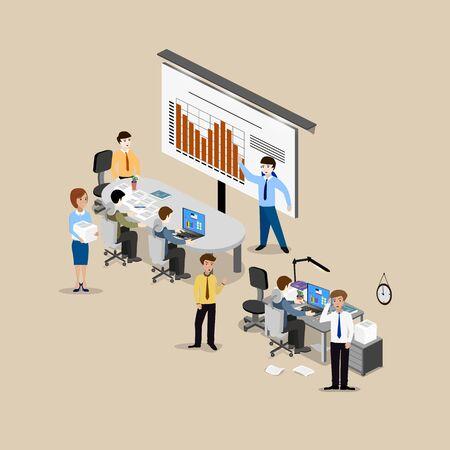 Le concept de travail de bureau, le travail d'équipe, de remue-méninges, rencontre, d'échange d'idées, la résolution de problèmes. Vue isométrique à partir du haut