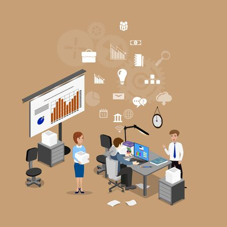 problemsolving: The concept of office work, teamwork, brainstorming, meeting, exchange of ideas, problem-solving. Isometric view from the top