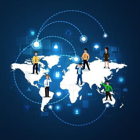 via: The concept of social network communication via intrnet, communication.