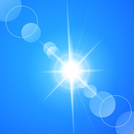 Blauwe achtergrond schittering van de zon