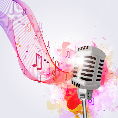 Illustration of an old microphone and musical notes.