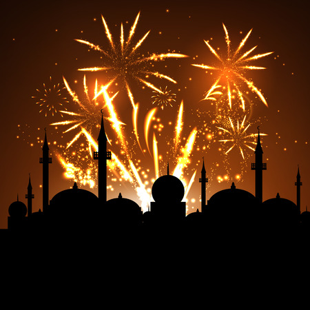 beautiful allah: Eid Mubarak celebration with mosque silhouette on fireworks