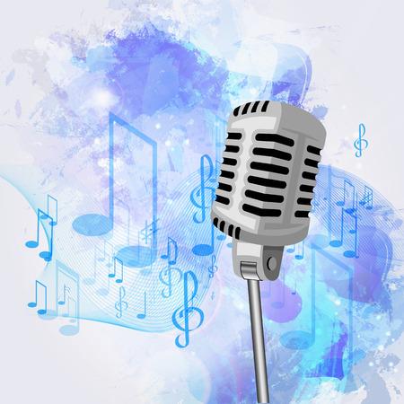microfono antiguo: Ilustraci�n de un viejo micr�fono y notas musicales.
