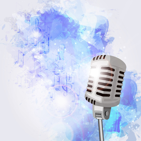 microfono de radio: Ilustración de un viejo micrófono y notas musicales.