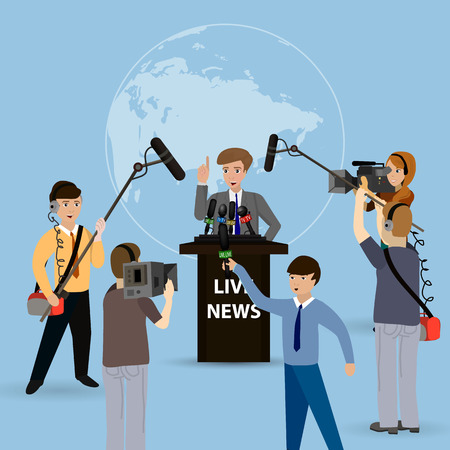 reportero: Ilustración de un concepto de noticias en vivo, informes, entrevistas. Las personas entrevistadas.