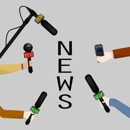 interview: Illustration of a concept live news, reports, interviews. People interviewed. Illustration