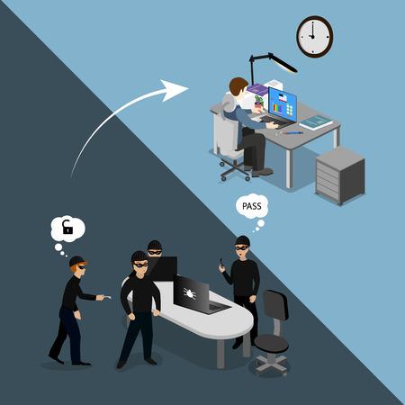 protecci�n: concepto de protecci�n contra la pirater�a inform�tica Vectores