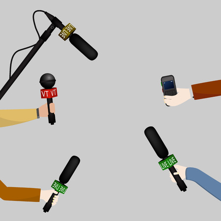 interviewed: Illustration of a concept live news, reports, interviews. People interviewed. Illustration