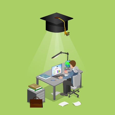učit se: Muž sedící u počítače, učení doma. Ilustrace