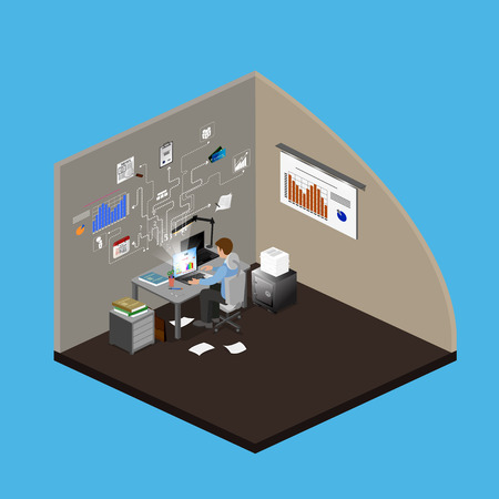 freelancing: Concept Freelancer at work isometric infographic.