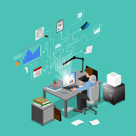 ceo office: Concept Freelancer at work isometric infographic.