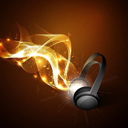 notes music: Abstract music background headphones and line.