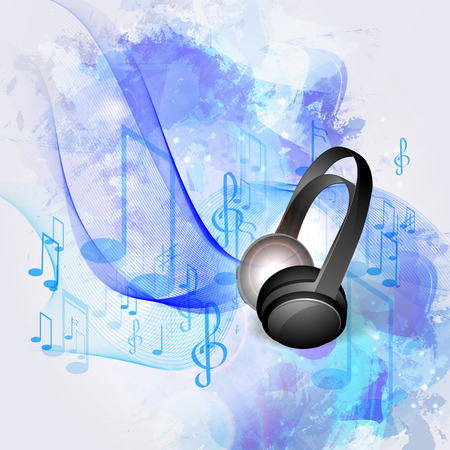 composing: Abstract music background headphones and line.