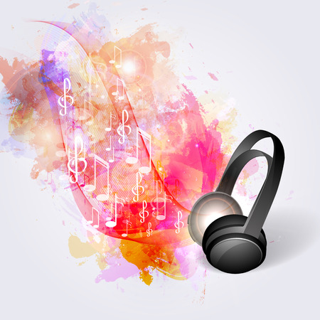 Abstract music background headphones and line.