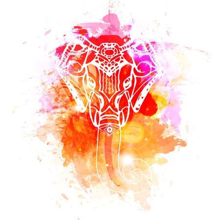 Bright background Head of Hindu god Ganesha. Illustration