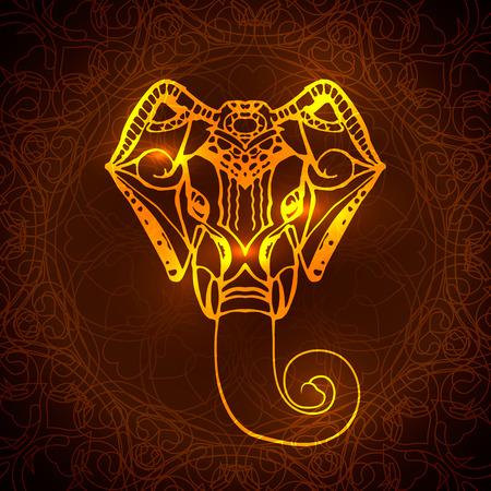 hindu god: Fondo brillante Jefe del dios hind� Ganesha.