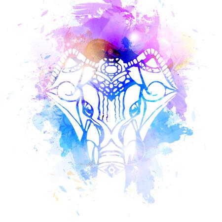 hindu god: Bright background Head of Hindu god Ganesha. Vectores