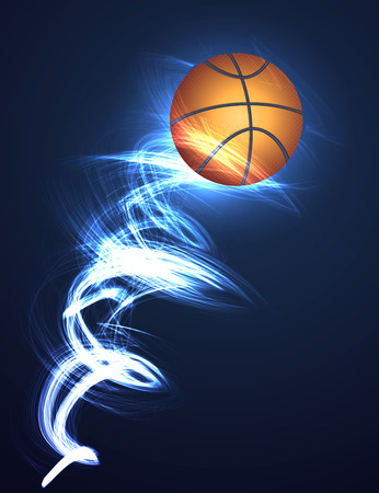 basketball ball on fire: Abstract background Basketball ball on fire