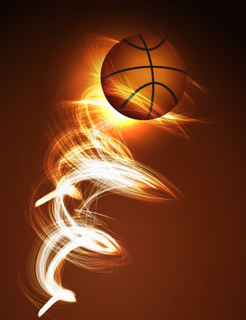 basketball ball in fire: Abstract background Basketball ball on fire