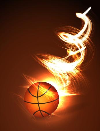 Achtergrond bal van het basketbal op brand