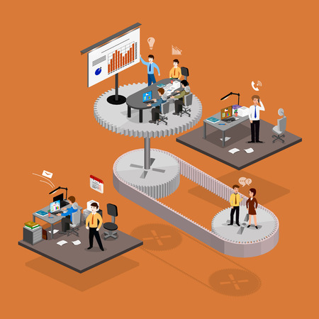 Business infographics isometrics abstract office. Creative business people collection. Stock Illustratie