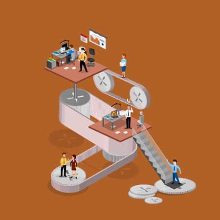 Business infographics isometrics abstract kantoor. Creatieve zakenmensen collectie.