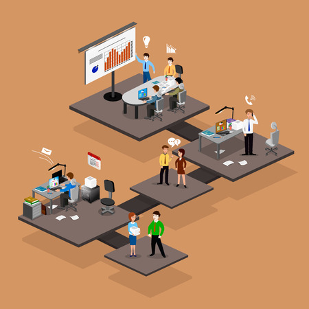 linkedin: Business infographics isometrics abstract office. Creative business people collection. Illustration