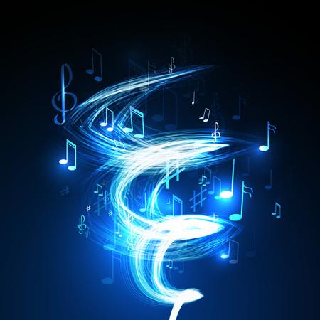 karaoke: neon line abstract music background Illustration