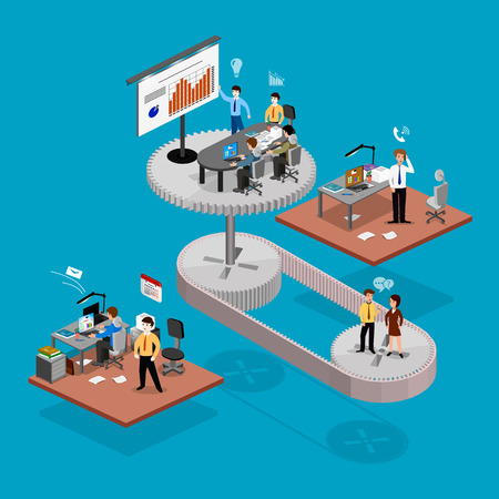 Business infographics isometrics abstract office. Creative business people collection. Illustration