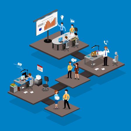Zakelijk infographics isometrics abstract kantoor. Creatieve mensen uit het bedrijfsleven collectie.