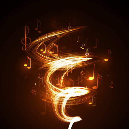 live music: neon line abstract music background Illustration