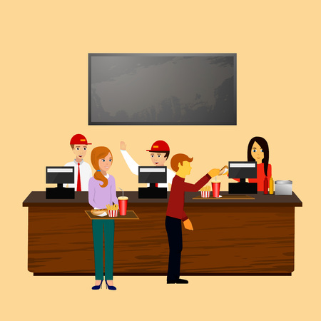 fast food background, cafe workers standing at the cash register