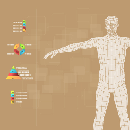 lymphatic: Vector illustration of medicine infographics. Schematic description of the human body.