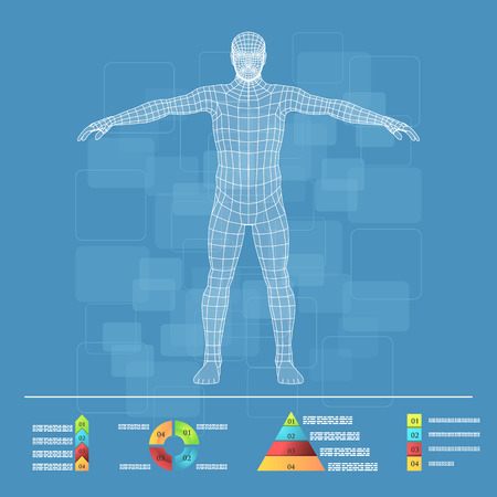 figura humana: Ilustración del vector de infografía medicina. Descripción esquemática del cuerpo humano.
