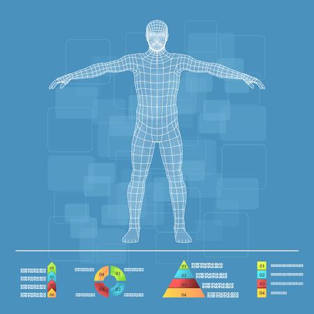 personne malade: Vector illustration de l'infographie de médecine. Description schématique du corps humain. Illustration