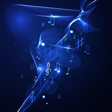 pentagrama musical: Ilustración de la música abstracta línea de fondo de neón
