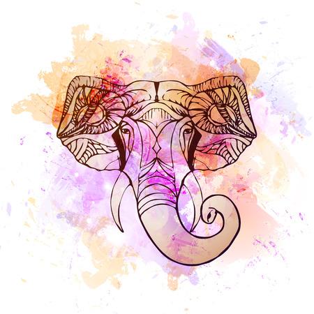 Dibujado a mano Elephant Head. Dios indio Señor la deidad hindú Ganesha. Foto de archivo - 45950506