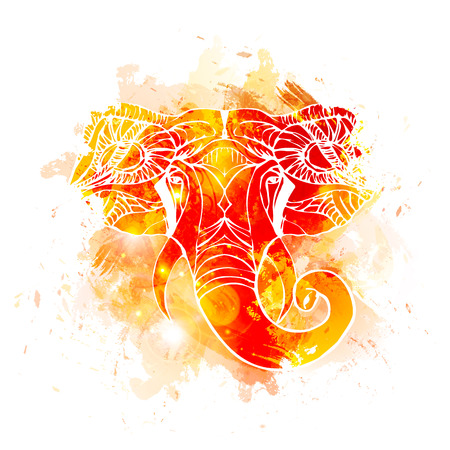 Hand drawn Elephant Head. Indian god Lord hindu deity Ganesha.  イラスト・ベクター素材