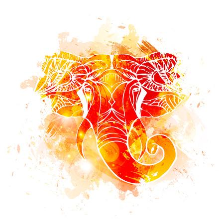 Hand getrokken Elephant Head. Indiase god Lord Hindoe-godheid Ganesha.
