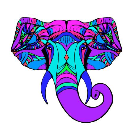 ganesha: Hand drawn Elephant Head. Indian god Lord hindu deity Ganesha. Illustration