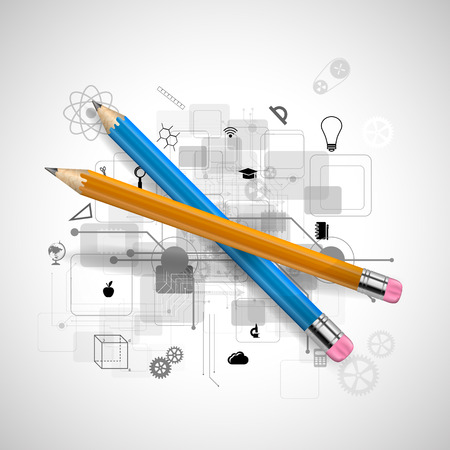 Vector illustration of sharpened detailed pencil isolated